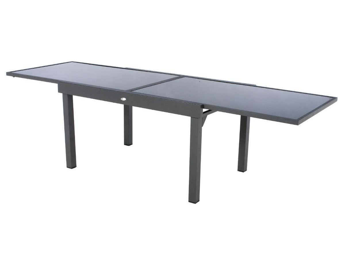 Table extensible rectangulaire en verre Piazza 6/10 places Gris anthracite